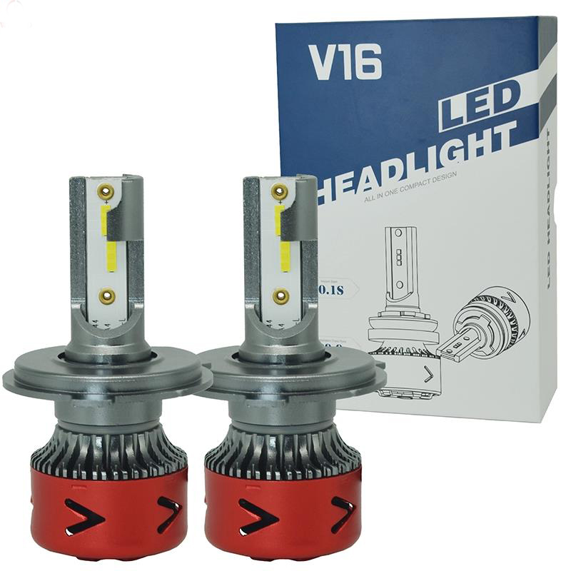 Auto Lighting System Lights H7 H11 HB3 40W Led H4 Headlight <strong>V16</strong> LED H4 with Turbo fan