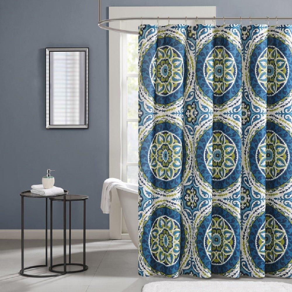 1 Piece Multi Medallion Themed Shower Curtain All Over Beautiful Geometric Art Work Gorgeous