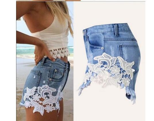 Explosive sexy lace stitching denim shorts European and American style sexy hot pants