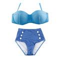 2016 NEW Hot Sexy Retro Denim Biquini Vintage High Waist Bikini Set Swimwear Dot Push up