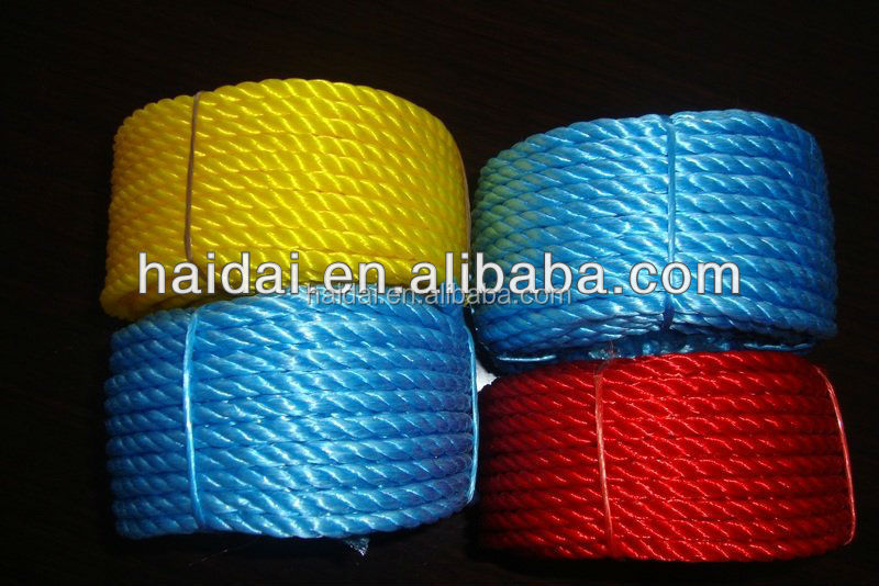 3 strand nylon rope yellow , red poly rope , green pe twist rope
