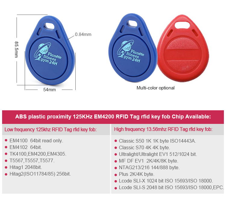 ABS EM4200 RFID Access Control Card Key Tags