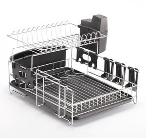 Kitchen 2 Tier Dish Rack / Dish Drainer with Drainerboard/ Drying Rack with Utensil Caddy