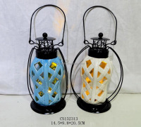 Colour-glazed ceramic lantern with LED lighting