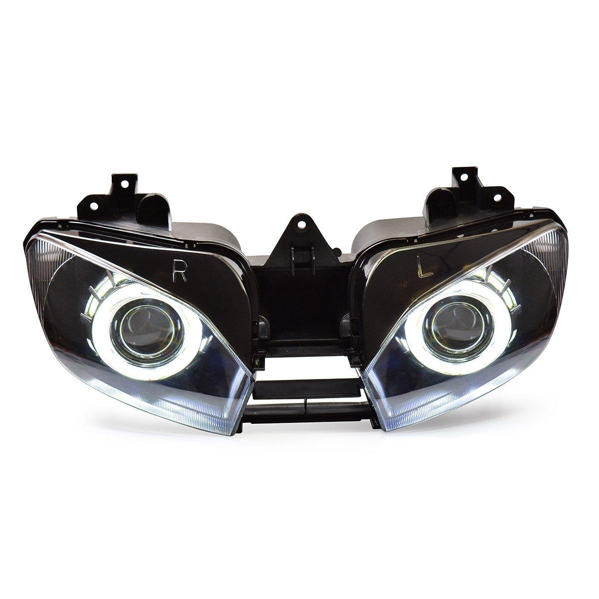 KT Headlight Assembly for Yamaha R6 1999-2002 White Angel Eye