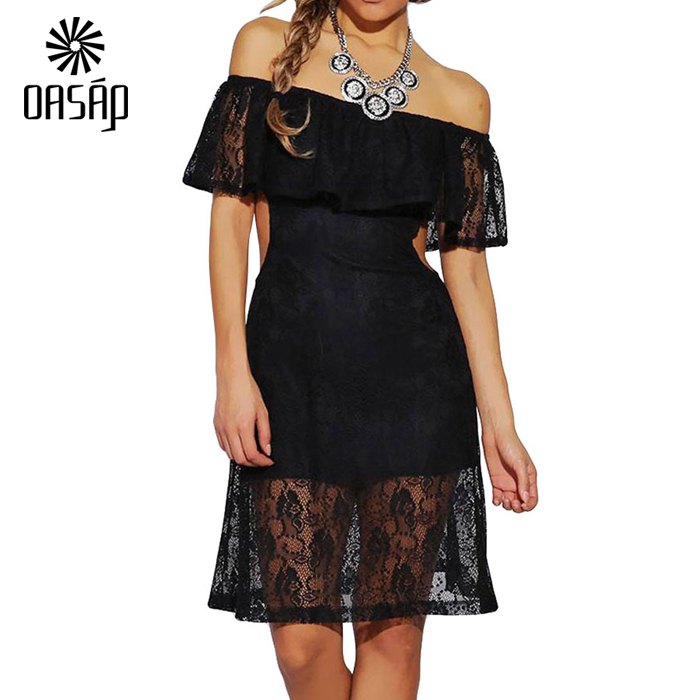 948a0fc58 OASAP Women Black off-shoulder Lace Peplum Shirt Top Blusas De Renda  Feminino Top Cropped-60716