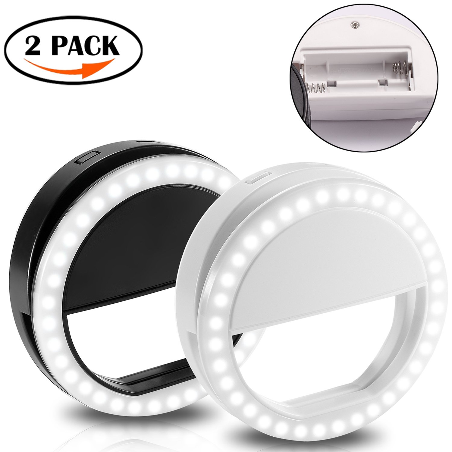 Selfie Ring Light for Camera Clip Style, 2 Pack Rechargeable 36 Chips LED Selfie Camera Light, for iPhone, ipad, Samsung Galaxy, Other Photography Smartphone, Black & White