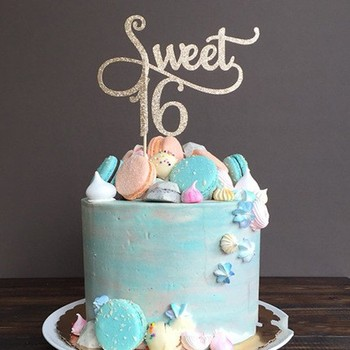 Glitter Sweet 16 Cake Topper 16th Birthday Anniversary Party Cupcake  Decoration Wholesale - Buy Paper Cake Toppers,Happy Birthday Cake ...