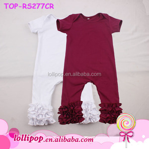Baby Boutique Wholesale China Lap Shoulder Cotton Baby Romper Jumpsuit Trendy Kids Tripe Ruffle Icing Rompers