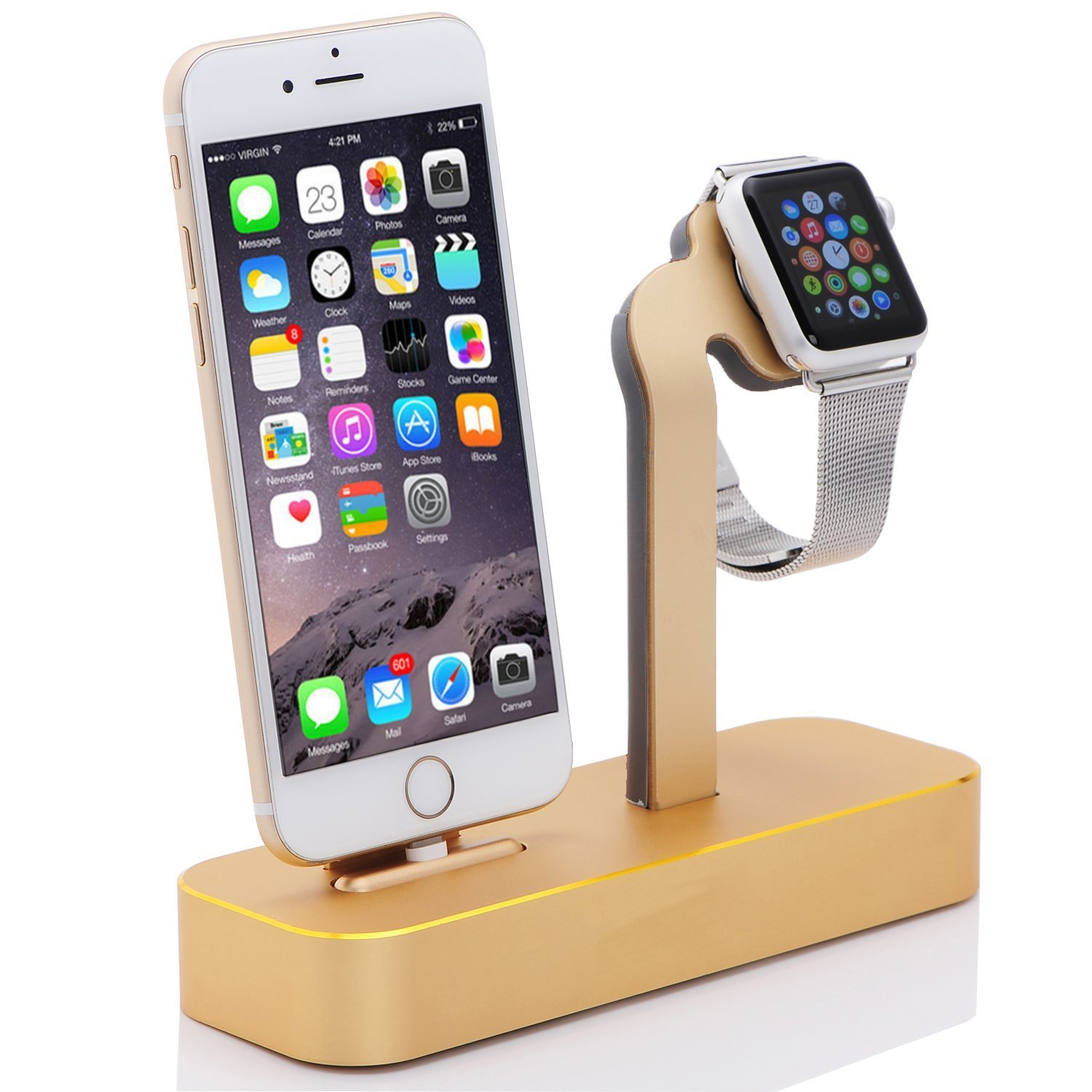 Apple Watch Series 2 Stand,MNever-Never 2 in 1 Aluminum Charging Stand Dock Station NightStand Cradle Holder for Apple Watch & iPhone 7 SE/5/5s/6/6S/Plus (Golden)