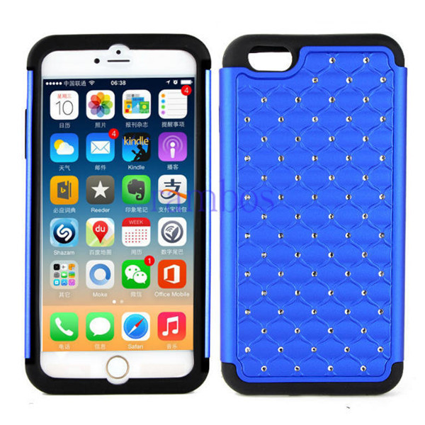 Hybrid TPU + PC Bling Sparkle Diamond Jewel Case Phone Back Cover Skin for iPhone 6 6 Plus