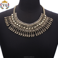 NYQ-00399z bib statement necklace with crystal jewelry for women,silver plated and Bronze