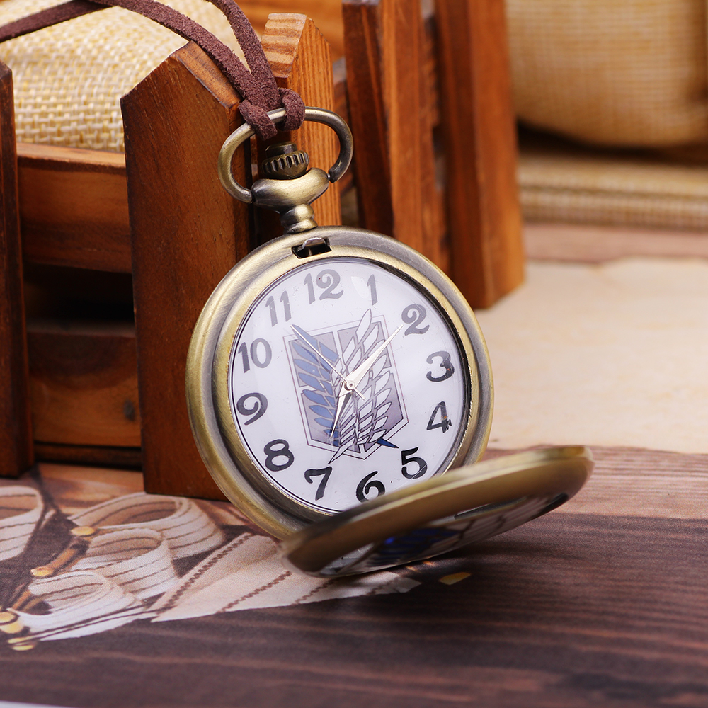 Fashion copper Black Polish Smooth Angel wings  Pocket Watch for Man Women's Gift