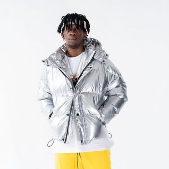 Vintage Plain Color Puff Windbreaker Jacket Winter for Man Hip Hop Streetwear Zip Up Track Casual Clothing