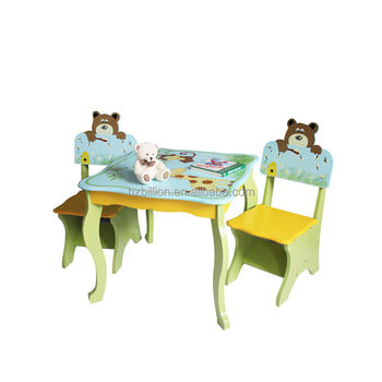 Wooden Children Safari Animal Study Table And Chairs Children Furniture  Table