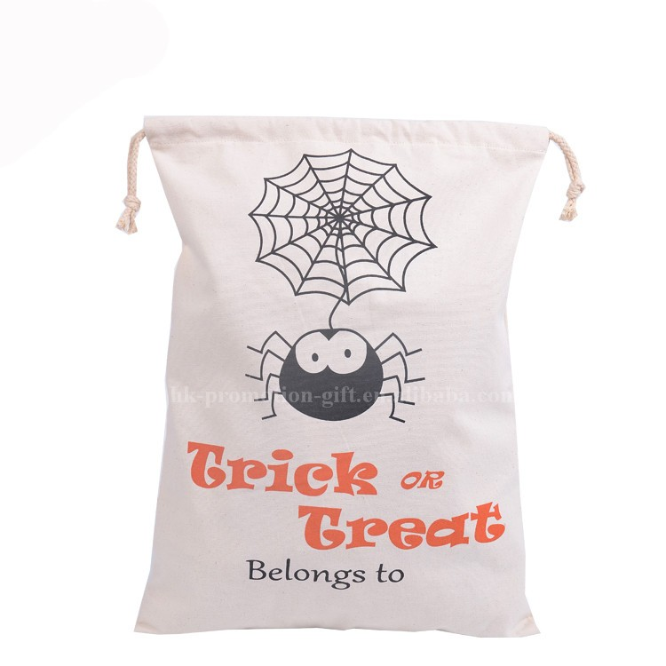 Halloween Trick Or Treat Cotton Bag for child, wholesale halloween cotton drawstring bag