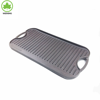 cast iron pre seasoned griddle and double side use for outdoor cookware