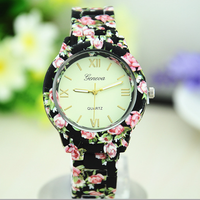 Geneva Printing Plastic Strap Quartz Women Dress Watch 5 Colors Top Quality Fashion Luxury Brand watch