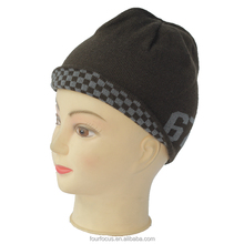 Men 100%acrylic Knitted Winter Beanie Hat