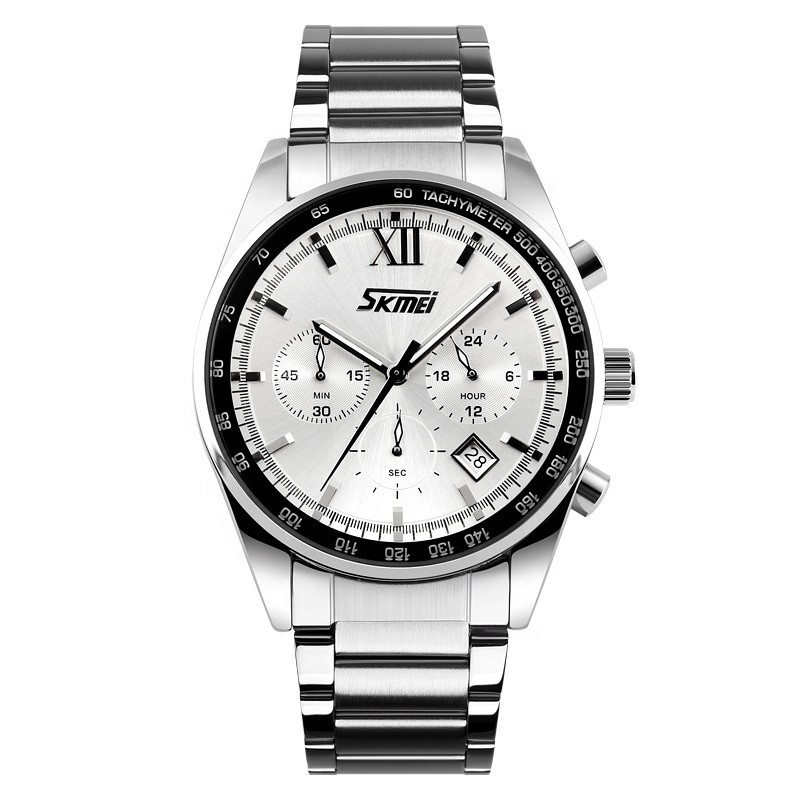 Skmei 9096 factory new arrival origin fashion waterproof stainless steel band chronograph date sports quartz movt men's watch фото