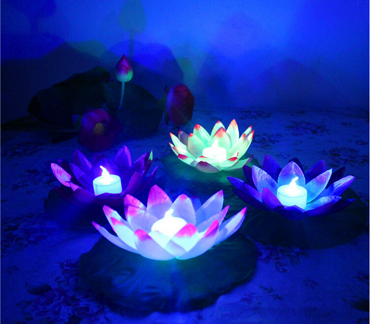 Diameter  Cm Floating Led Lotus Lamp In Colorful Changed Water Pool Wishing Lights For Party