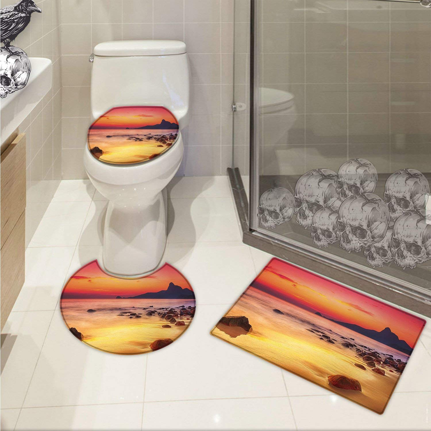 Ocean 3 Piece Toilet lid cover mat set Digital Photo of Mystical Sunrise over the Sea with Stones and Cliffs Idyllic Spot Printed Orange Yellow