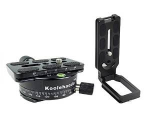 koolehaoda 360° Panoramic Head Clamp + L Quick Release Plate + QR PU70 + Dovetail for Tripod Ballhead DSLR Camera