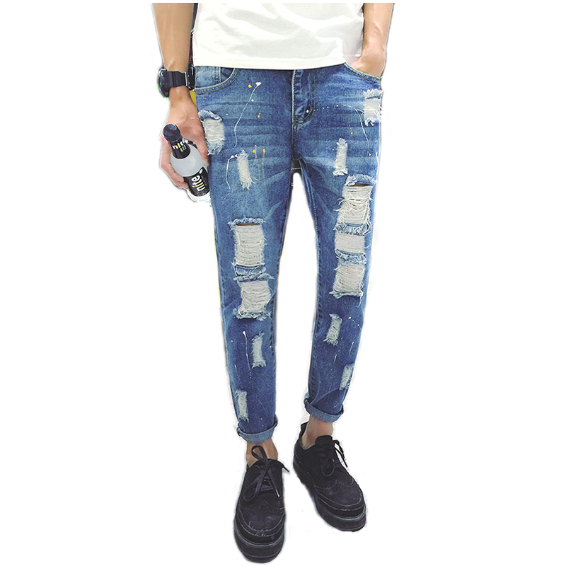 ae44f8081 2016 Brand Clothing Blue Fashion Jeans Pants Slimming Low Waist Jeans Male  Skinny Holes Jeans for