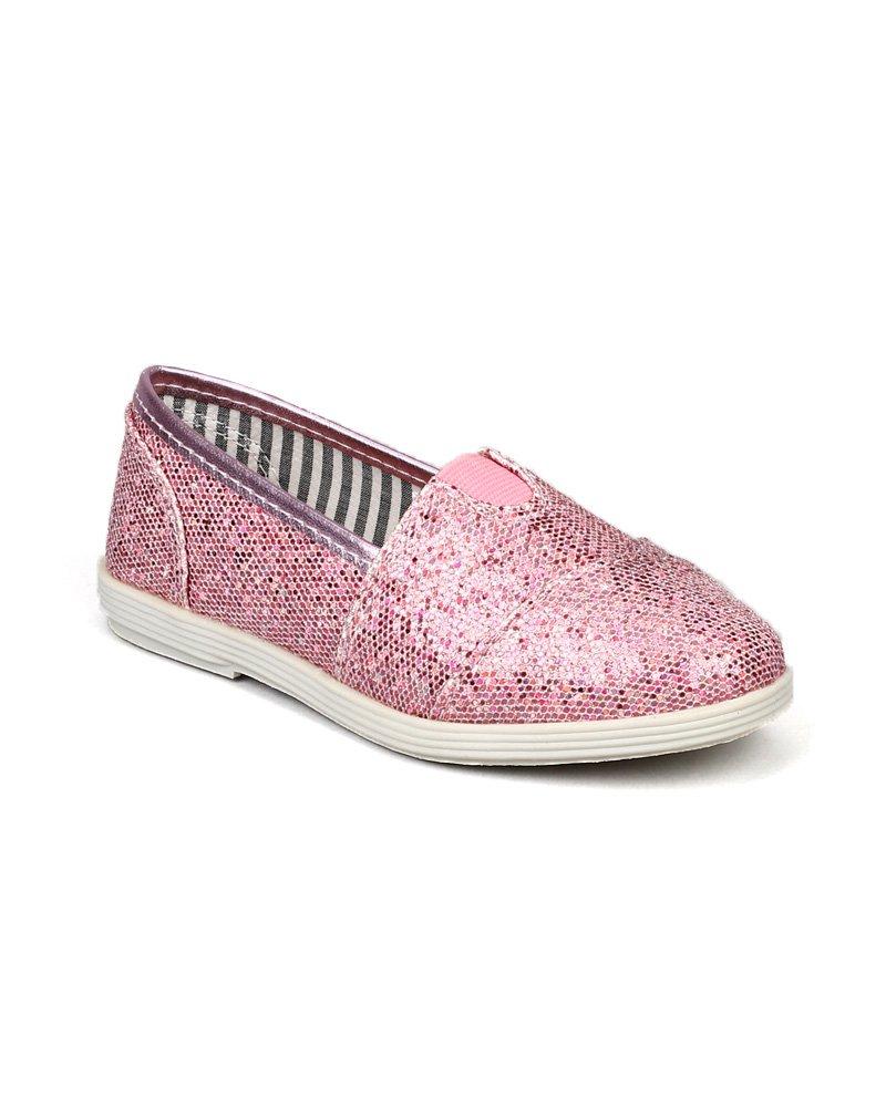Soda Object-2 Glitter Designer Slip On Ballet Flats (Toddler/Little Girl/Big Girl) - Pink