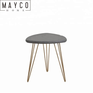 Mayco Living Room Furniture Modern Gold Metal Hairpin Leg Accent Corner Wooden Side Table