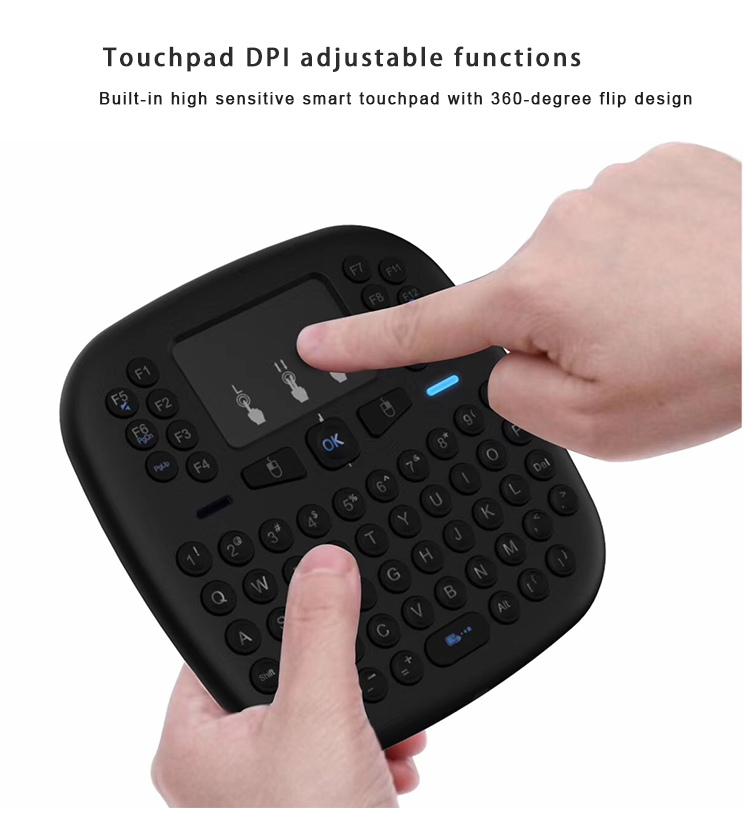 Topleo Ergonomically handheld design i18 color backlit custom wireless gaming keyboard mouse Touchpad