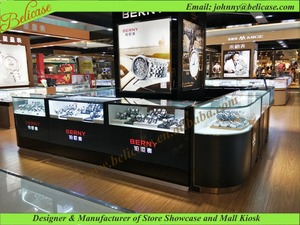 Glass mall kiosk for watch store display cabinet / counter/ showcase