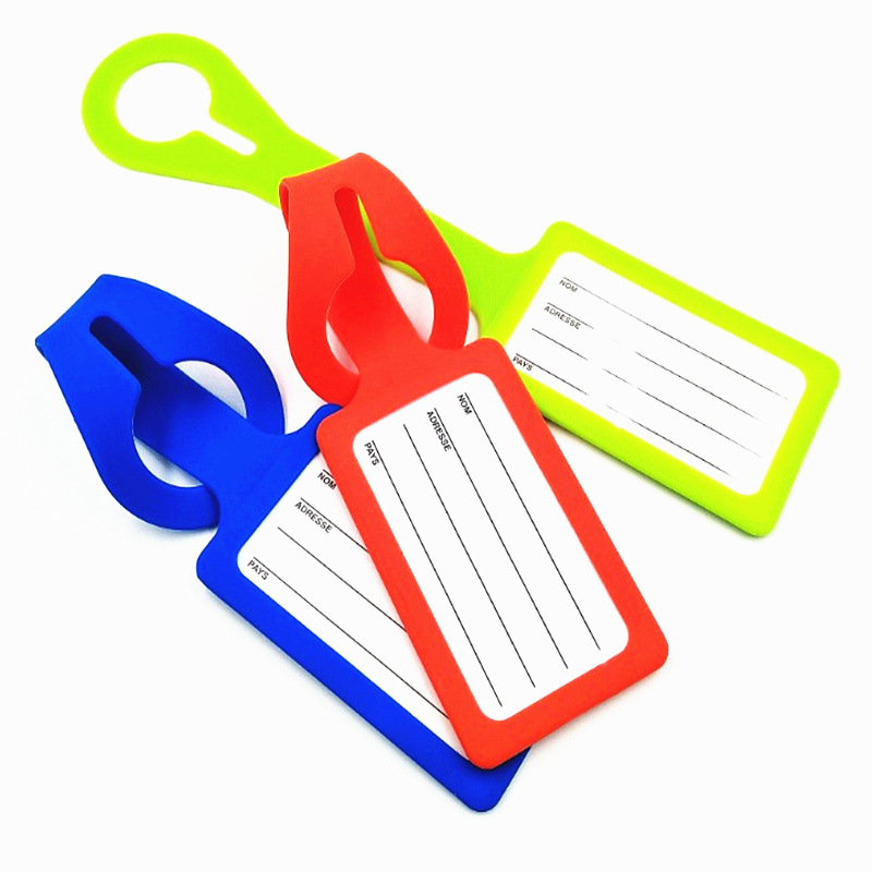 Promo wholesale custom printed silicone luggage tag