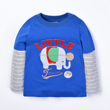 Cartoon stripe sleeve embroidered blue baby t-shirt boys