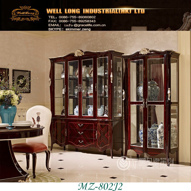Classic Living Room Furniture Solid Wood Vintage Wine Cabinet ebony calssic cabinet