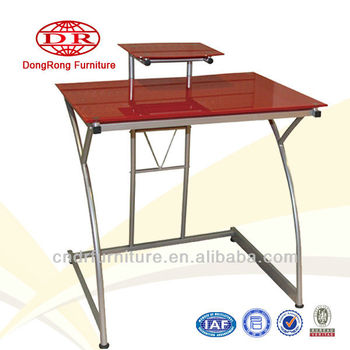 red glass top computer desk
