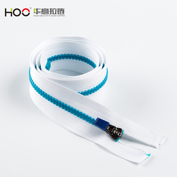 Hot products 5# open end blue fluo teeth with YG slider plastic zipper