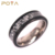 POYA Jewelry 7mm Plated Black Damascuss Steel Ring with Grey Carbon Fiber Inlay Titanium Ring Sleeve Comfort Fit