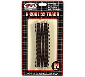 """N Code 55 Nickel Silver 21.25"""" Radius Half Curve Track (6) Atlas Trains"""