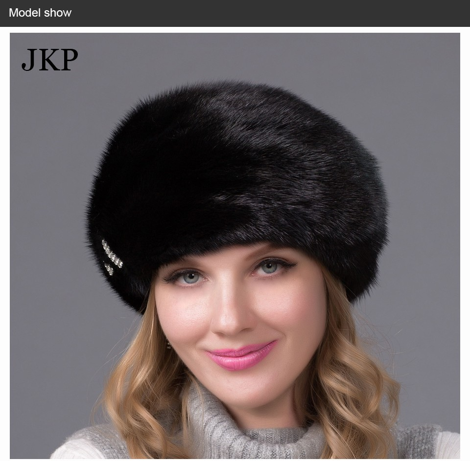 f4252526096 Real mink fur hats for winter women fur cap with diamond 2015 new ...