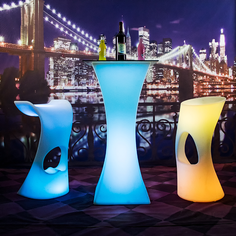 PE пластик водонепроницаемый Наружное освещение LED блеск мебель LED события стол для использования событий