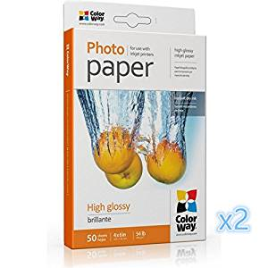 2 sets ColorWay High Glossy Photo Paper, 4x6 inches, 50 (100)sheets, 54lb PG2000504R