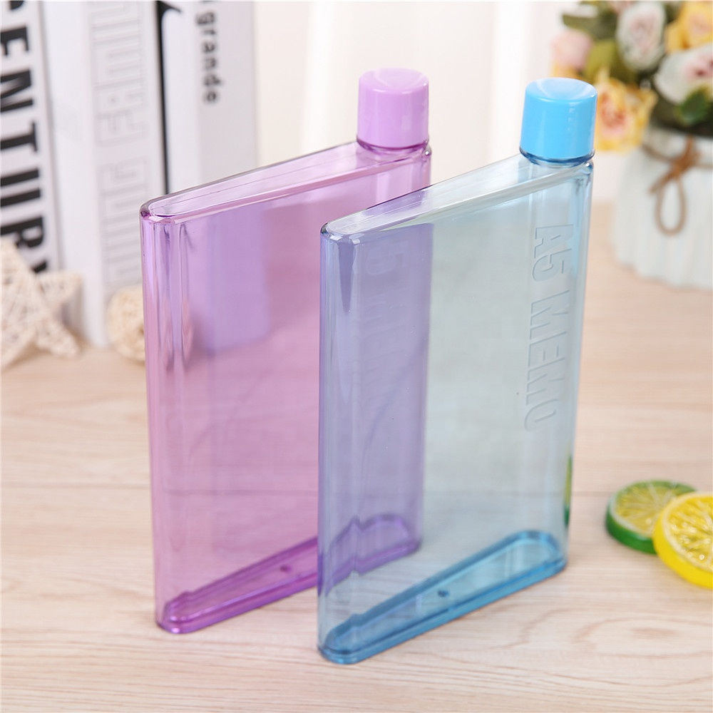 Flat Water Bottle >> Portable A5 Memo Notebook Water Bottle Plastic Bpa Free Flat Water