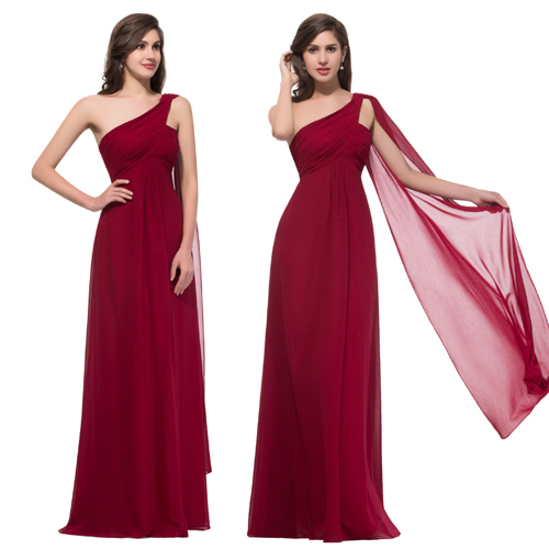 Special Formal Occasion 2015 Dark Red Prom dress Long One Shoulder Chiffon Birthday Graduation Maxi Summer Party dresses 008909