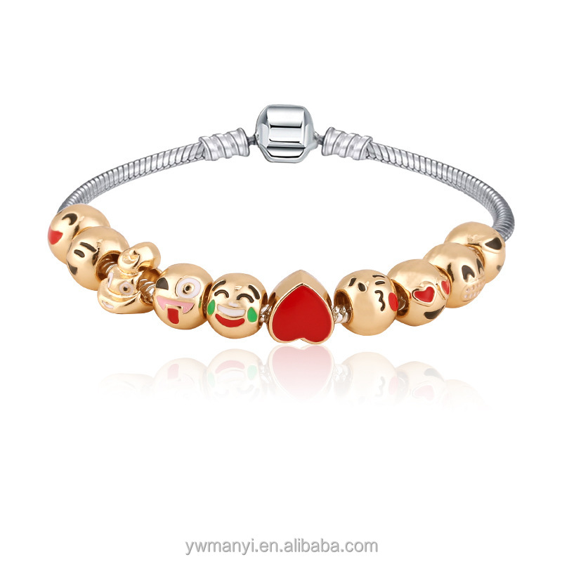 Top quality jewelry fashion metal oil drip cute emoji charm bracelet