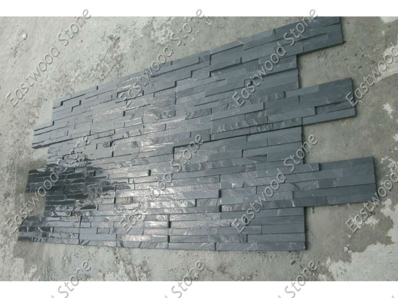 plaquette de parement mural en ardoise noire image ardoise. Black Bedroom Furniture Sets. Home Design Ideas
