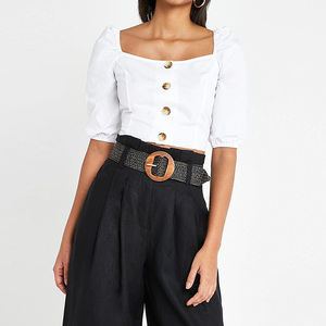 High quality Wholesale Custom fashion women button up crop tops short puff sleeve blouse