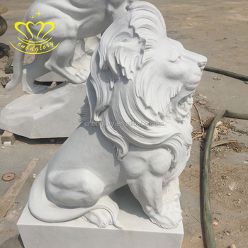 Garden ornaments outdoor sculpture white marble sitting lion statue