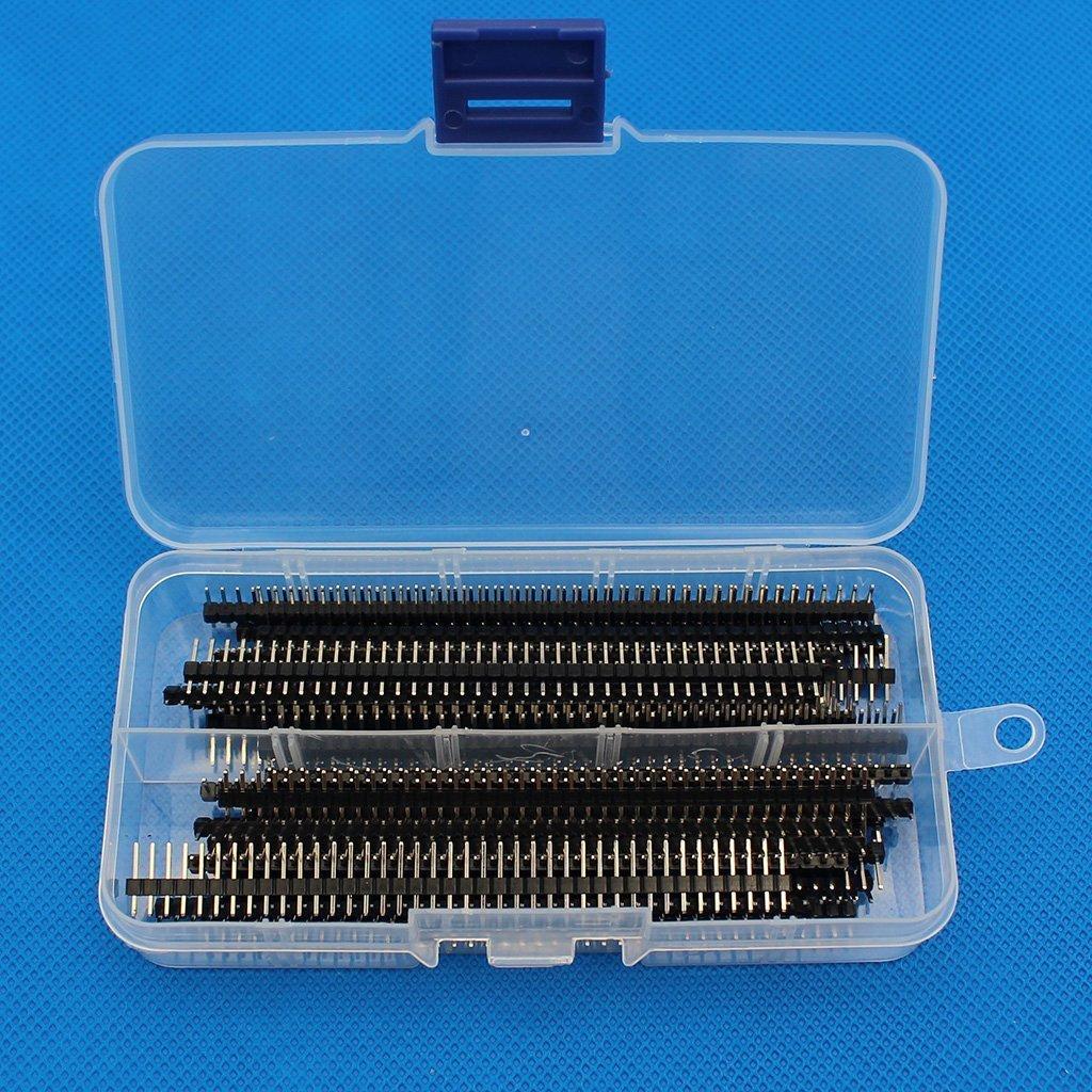 Raogoodcx 30Pcs 40 Pin 2.54 mm Single Row (L 11MM) Male Header for Arduino Prototype Shield DIY with Box