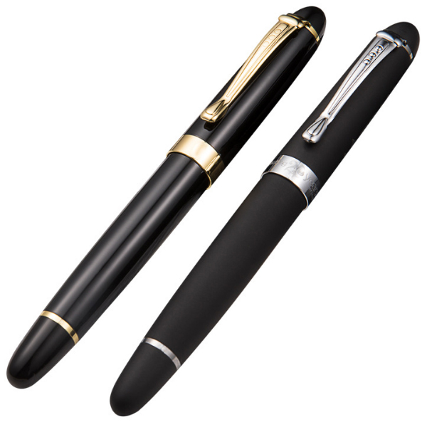 2019 High class metal free ink refill heavy weight full shiny black roller ball pen with custom logo
